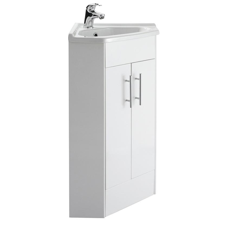 Premier High Gloss White Corner Cabinet Vanity Unit with Basin - VTCW001 Large Image