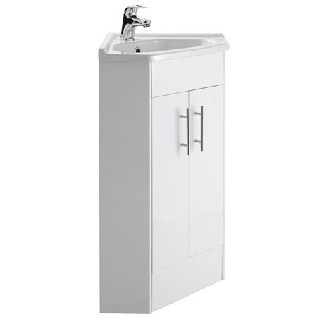 Premier High Gloss White Corner Cabinet Vanity Unit with Basin - VTCW001