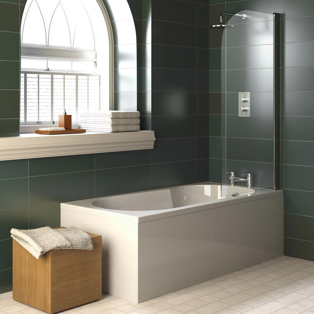 Premier Hinged Curved Top Bath Screen (790 x 1400mm) - NSS1 Profile Large Image