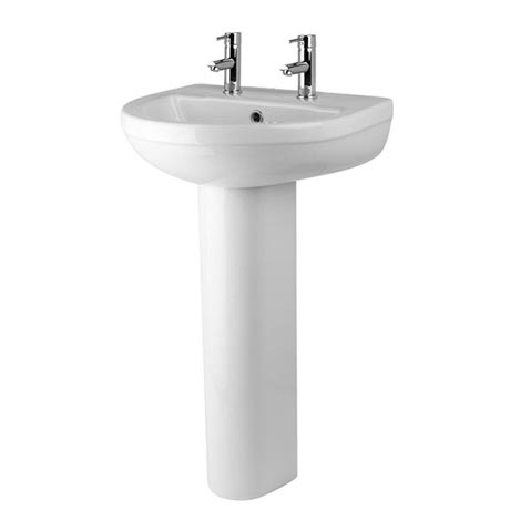 Premier Ivo Basin with Full Pedestal (555mm Wide - 2 Tap Hole)