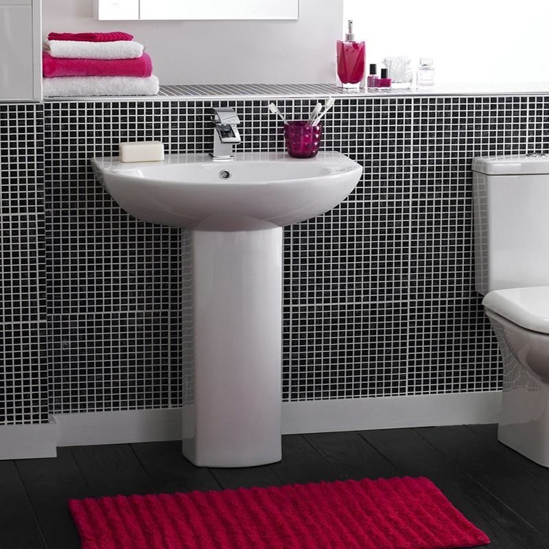 Premier - Knedlington 600 Basin & Pedestal Set - 1 Tap Hole - NCA302-NCA303 profile large image view 2
