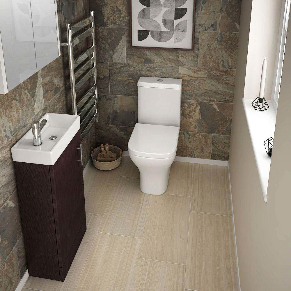 Premier - Minimalist Compact Floor Standing Basin Unit W400 x D222mm - Ebony - NVX392 profile large image view 2