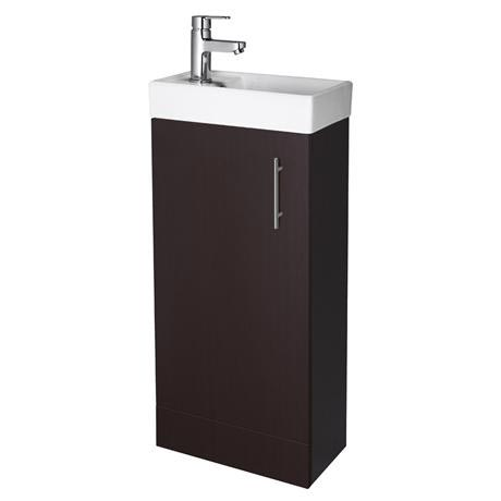 Premier - Minimalist Compact Floor Standing Basin Unit W400 x D222mm - Ebony - NVX392