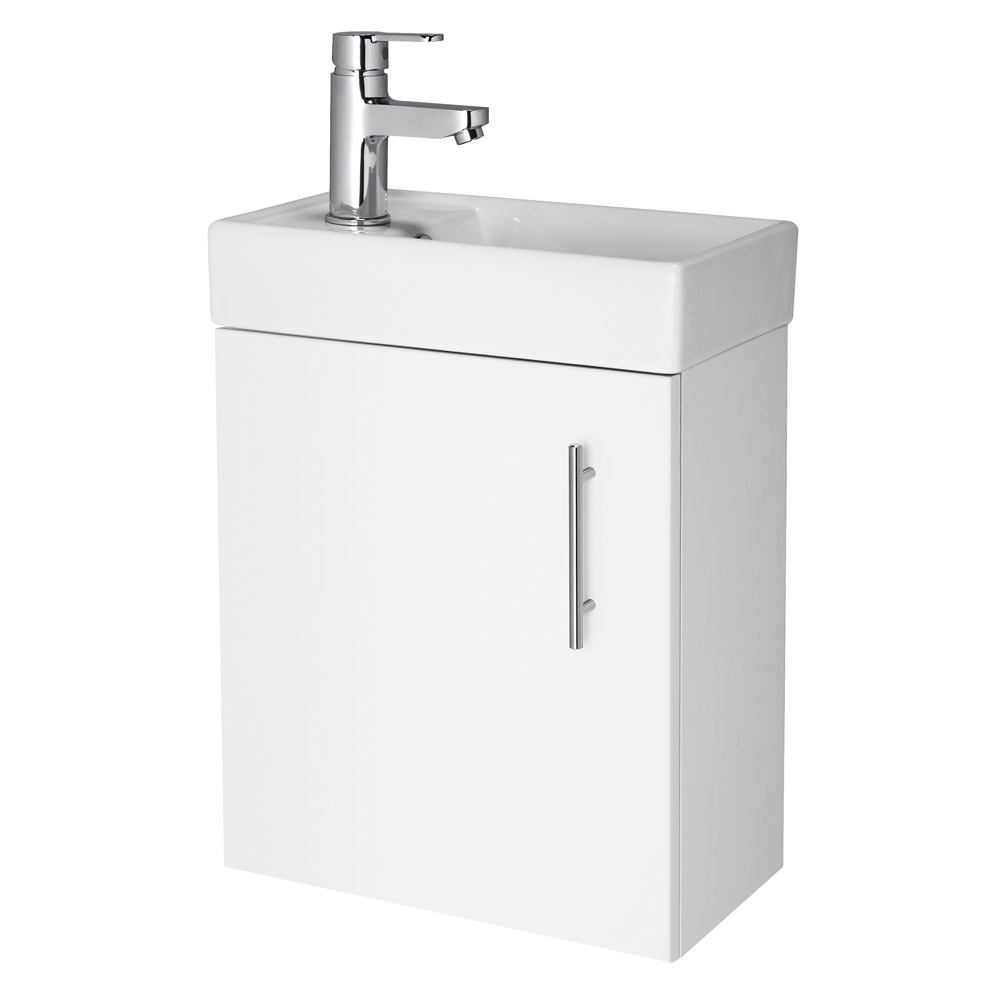 Nuie - Minimalist Compact Wall Hung Basin Unit W400 x D222mm - Gloss White - NVX182