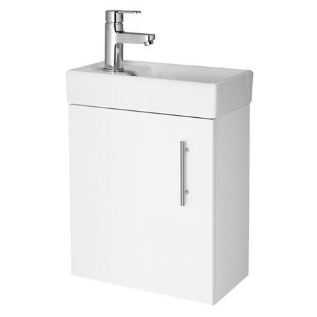 Premier - Minimalist Compact Wall Hung Basin Unit W400 x D222mm - Gloss White - NVX182