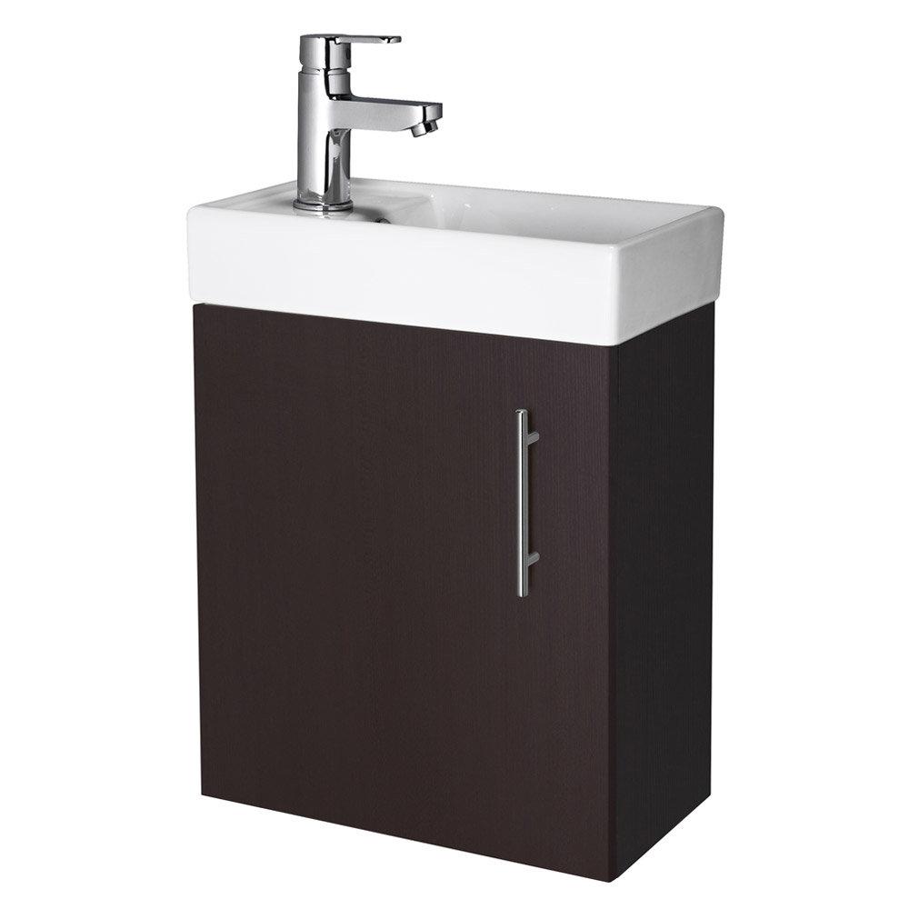 Premier - Minimalist Compact Wall Hung Basin Unit W400 x D222mm - Ebony - NVX382 profile large image view 1