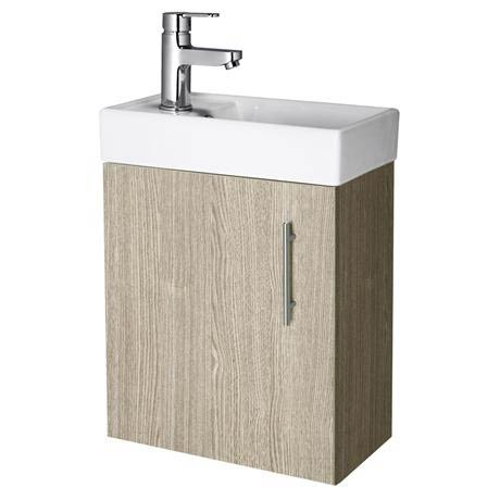 Premier - Minimalist Compact Wall Hung Basin Unit W400 x D222mm - Light Oak - NVX882