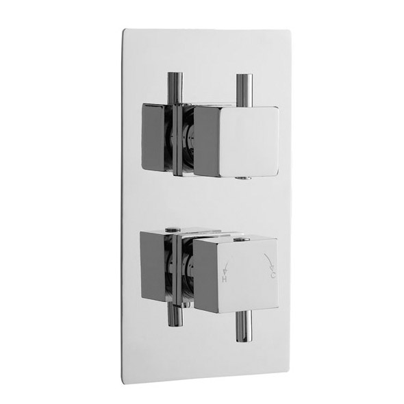 Premier - Minimalist Square Twin Concealed Thermostatic Valve with Diverter - JTY302 Large Image