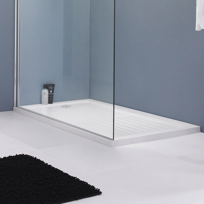 Premier Rectangular 40mm ABS Capped Acrylic Walk-In Shower Tray with Drying Area profile large image view 2