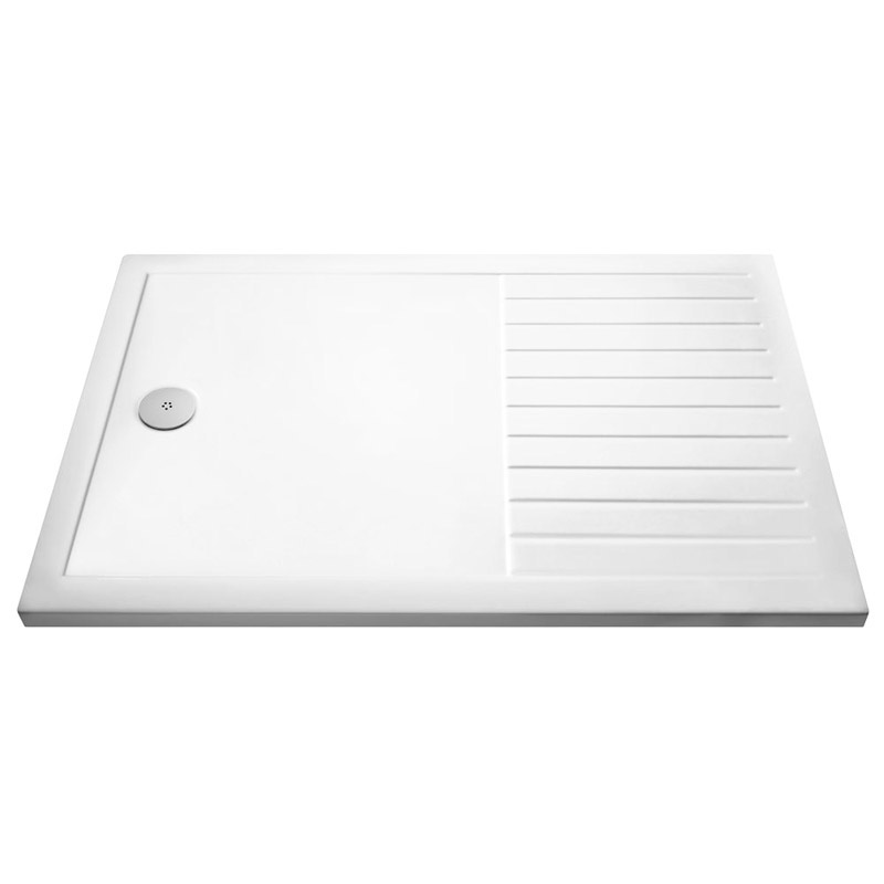 Premier Rectangular 40mm ABS Capped Acrylic Walk-In Shower Tray with Drying Area Large Image