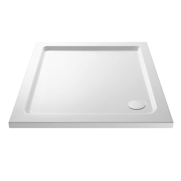 Premier - Square Acrylic Capped Pearlstone Shower Tray with waste - 760 x 760 x 40mm Large Image