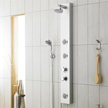 Premier - Thermostatic Shower Panel with Fixed Shower Head, 3 Body Jets & Shower Kit - AS304