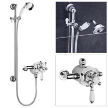 Premier Traditional Dual Exposed Thermostatic Shower Valve with Slider Rail Kit Medium Image