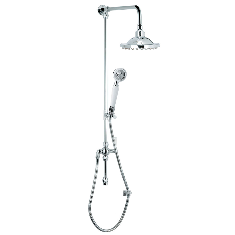 Premier - Traditional Rigid Riser Kit with Fixed Shower Head & Handset - STY068 Large Image