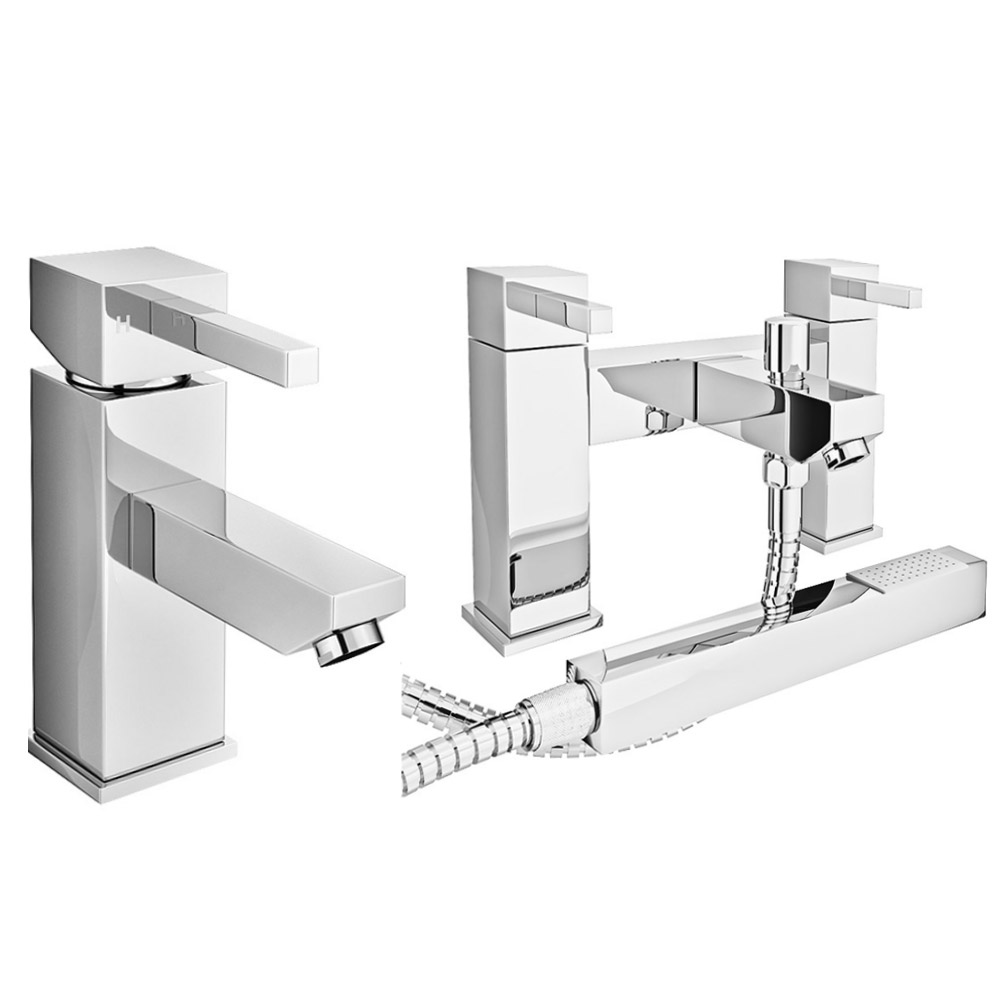 Prime Modern Basin and Bath Shower Mixer Taps Pack - Chrome Large Image