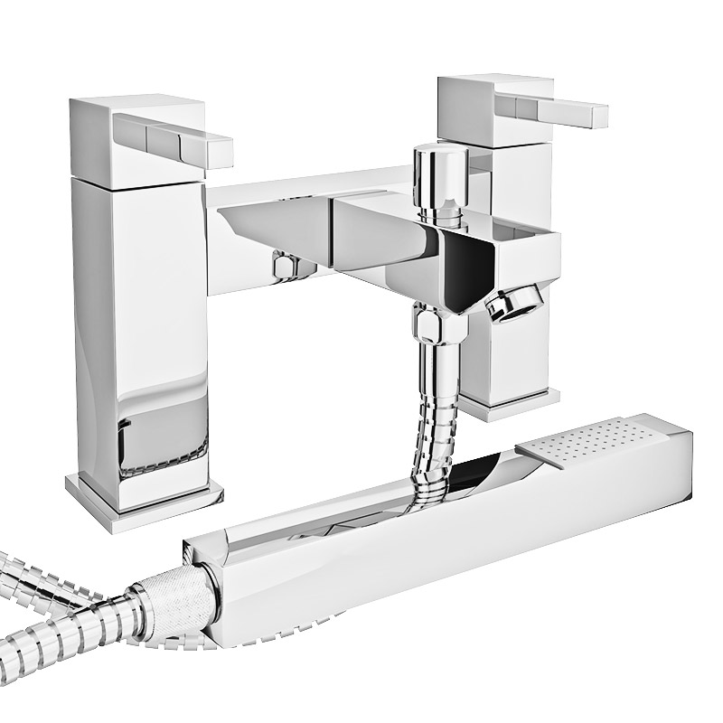 Prime Modern Bath Shower Mixer with Shower Kit - Chrome Large Image