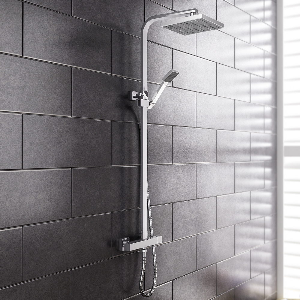 Prime Luxury Square Thermostatic Shower - Chrome Large Image