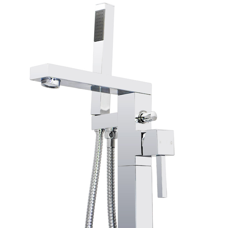 Prime Floor Mounted Freestanding Bath Shower Mixer - Chrome profile large image view 3