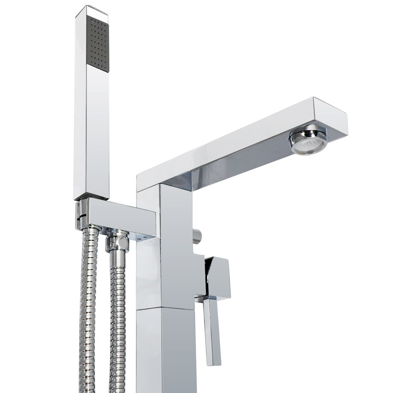 Prime Floor Mounted Freestanding Bath Shower Mixer - Chrome profile large image view 4