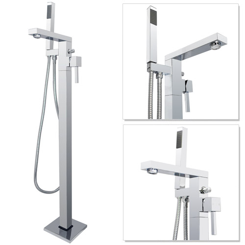 Prime Floor Mounted Freestanding Bath Shower Mixer - Chrome profile large image view 1