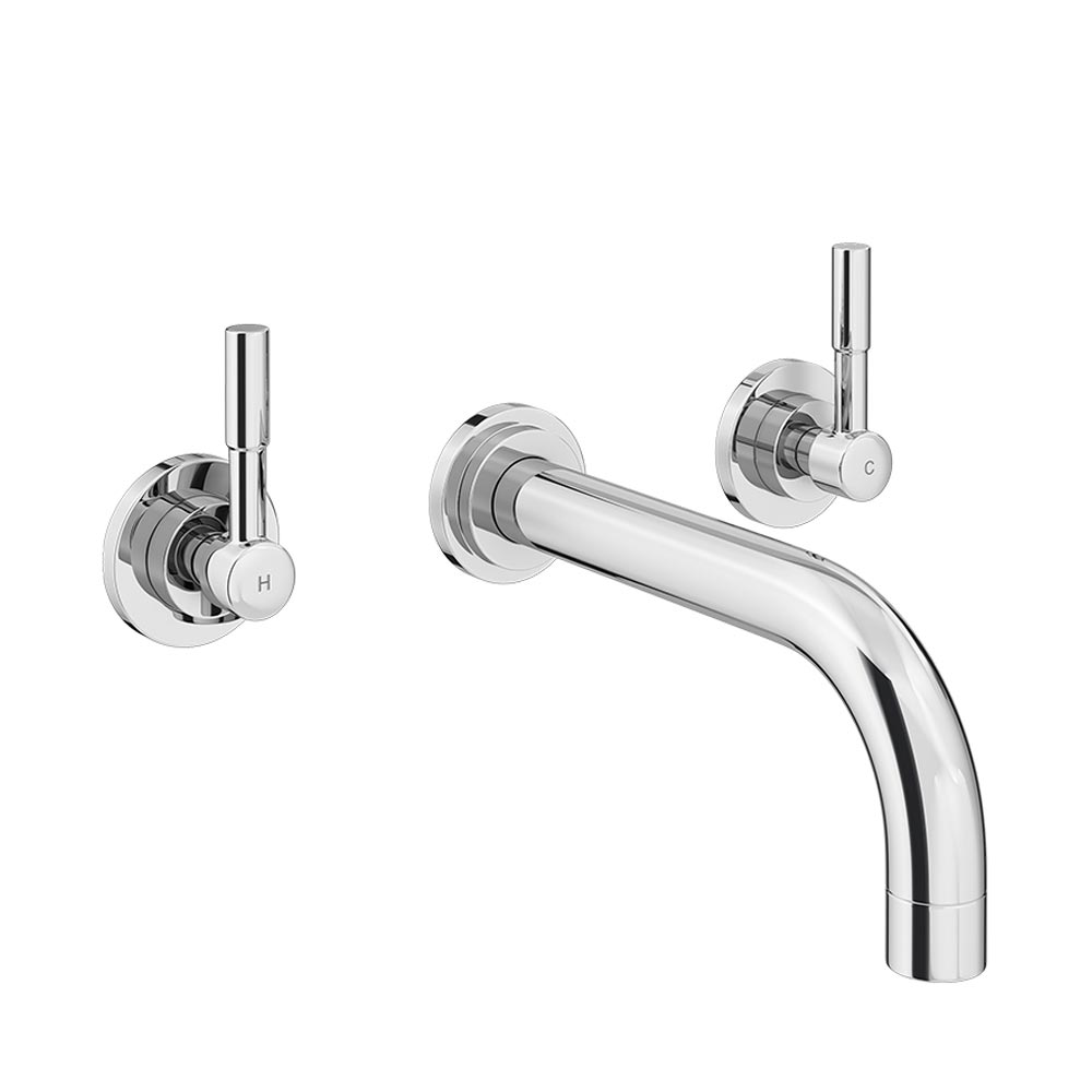 Primo Modern Wall Mounted Basin Mixer - Chrome profile large image view 1