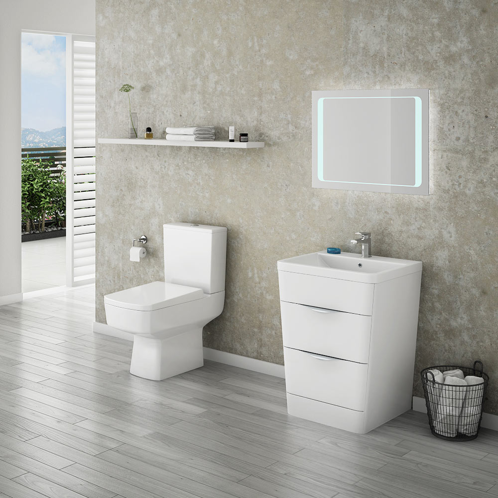 Prism Vanity Unit (White Gloss - 650mm Wide) profile large image view 4