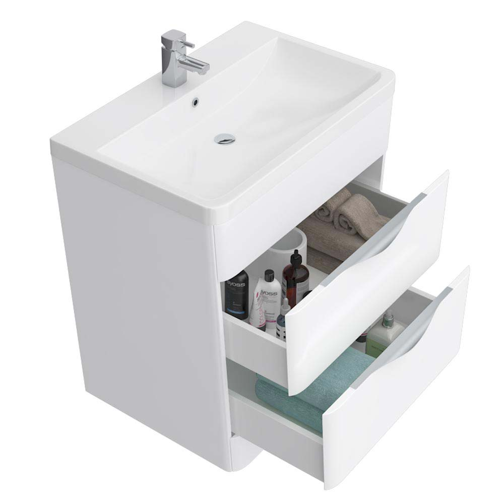 Prism Vanity Unit (White Gloss - 800mm Wide) profile large image view 3