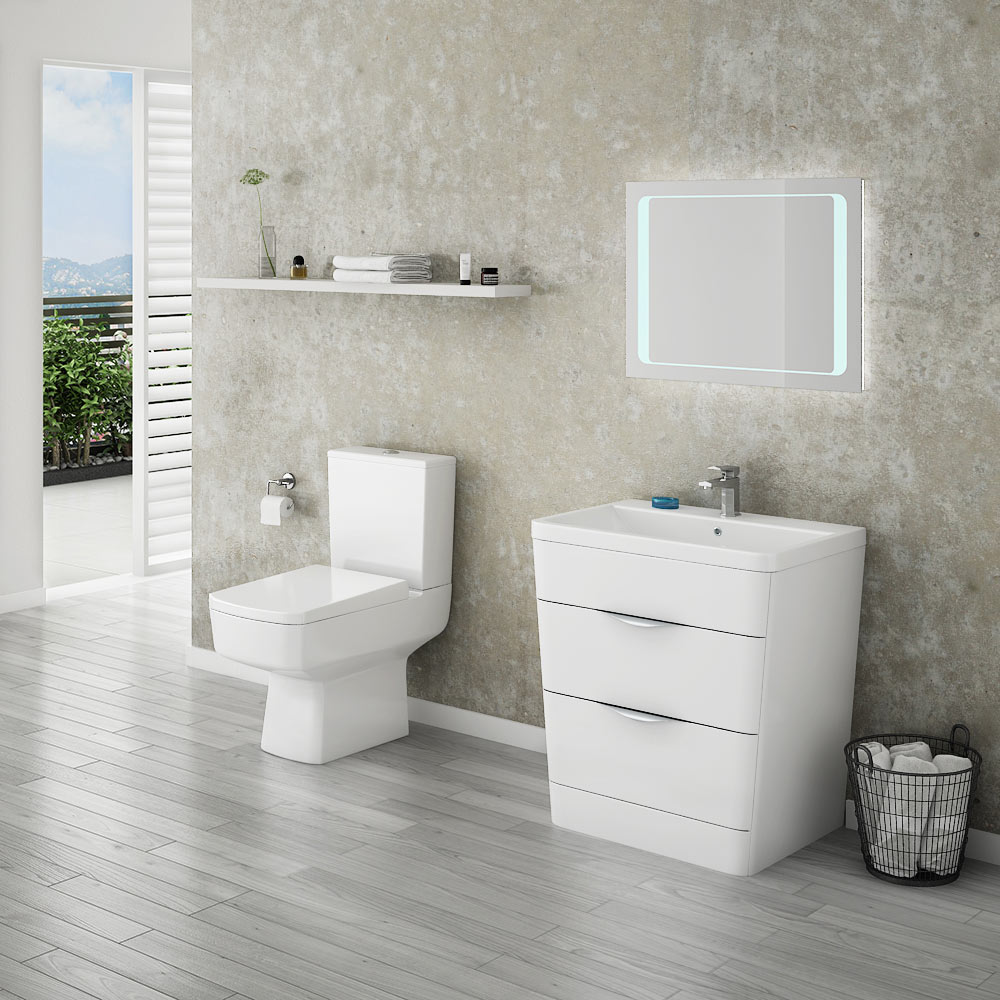 Prism Vanity Unit (White Gloss - 800mm Wide) profile large image view 4