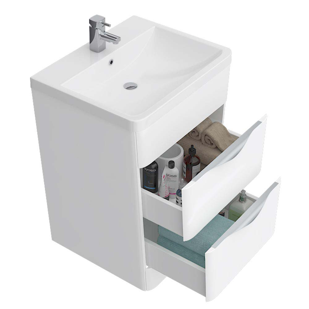 Prism Vanity Unit (White Gloss - 650mm Wide)  Feature Large Image