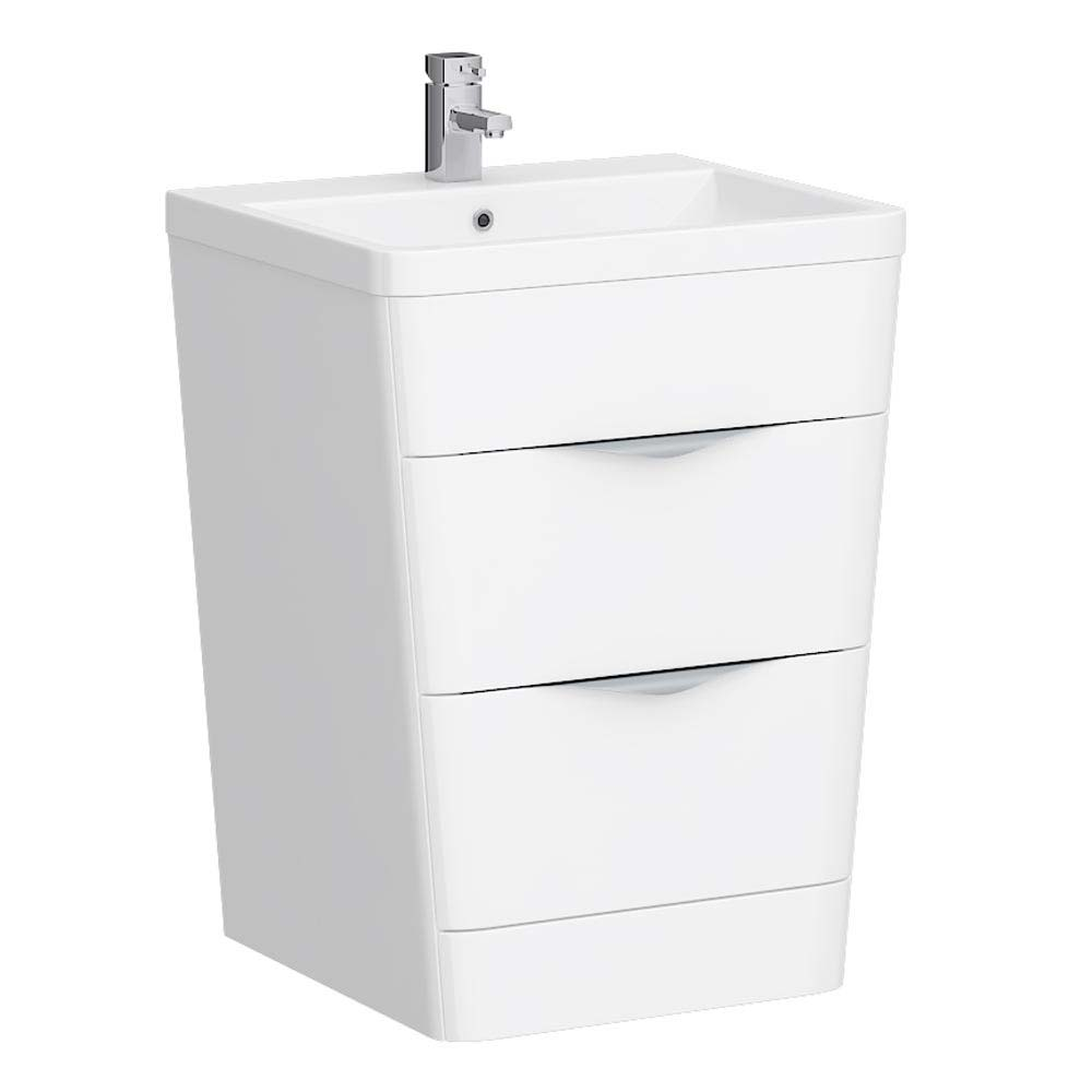Prism Vanity Unit (White Gloss - 650mm Wide) Large Image