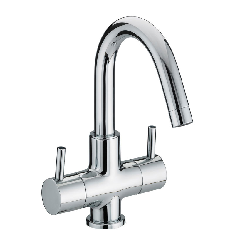 Bristan - Prism Contemporary 2 Handle Basin Mixer (no waste) - Chrome - PM-BAS2-C Large Image
