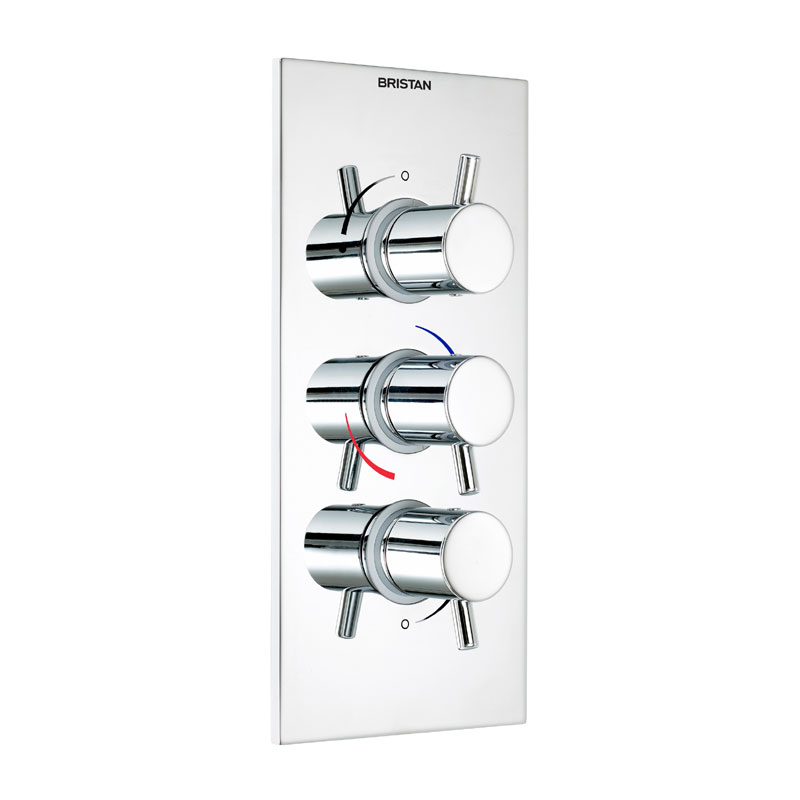 Bristan - Prism Thermostatic Recessed Mounted Triple Shower Valve - Portrait profile large image view 1