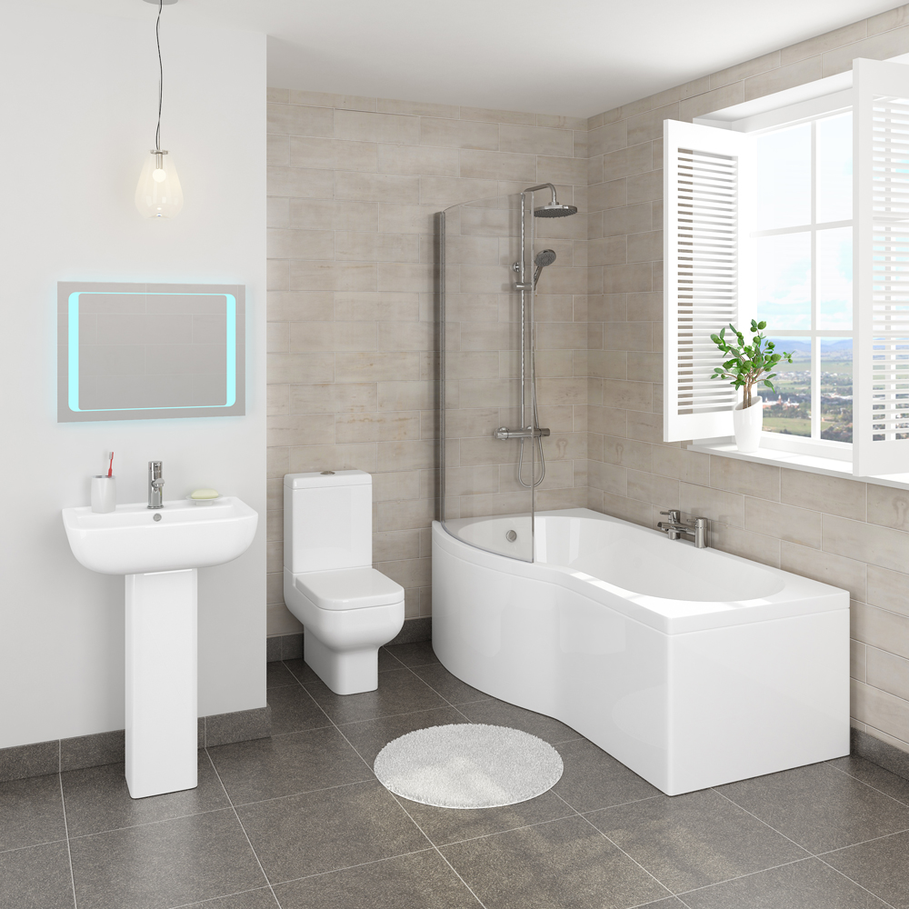 Pro 600 B-Shaped 1700 Complete Bathroom Package In Bathroom Large Image