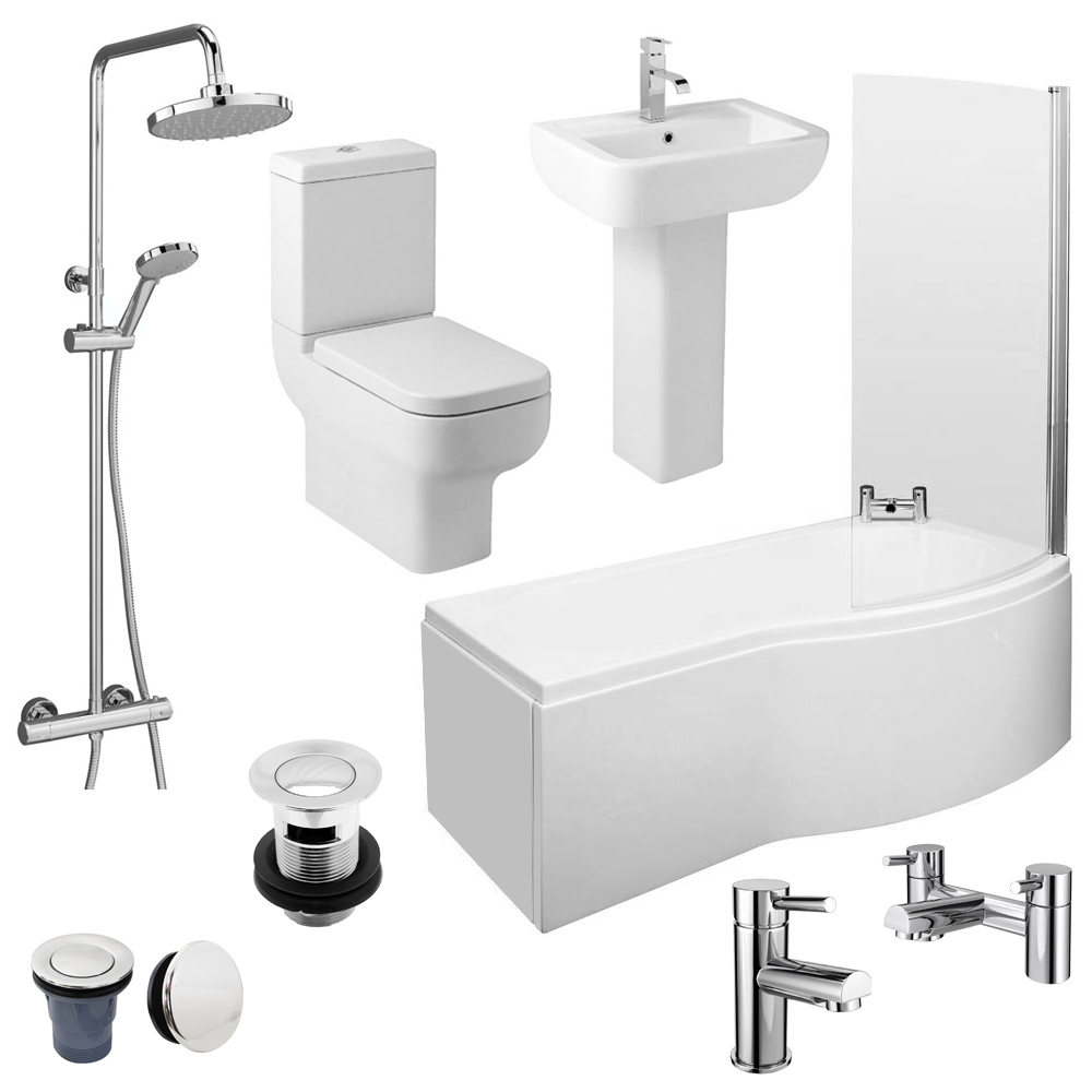 Pro 600 B-Shaped 1700 Complete Bathroom Package Large Image