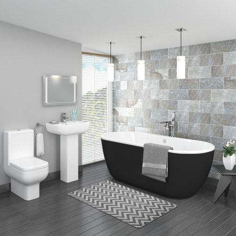 Pro 600 Black Modern Free Standing Bath Suite Victorian Plumbing Uk