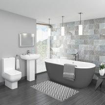 Pro 600 Grey Modern Free Standing Bath Suite Medium Image