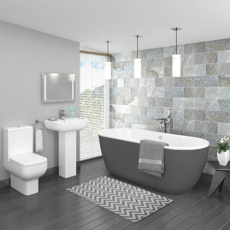 Pro 600 Grey Modern Free Standing Bath Suite