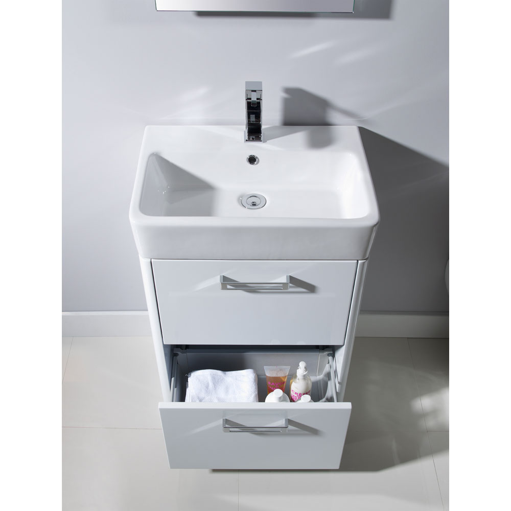 Tavistock Q60 575mm Freestanding Unit & Basin - Gloss White profile large image view 2