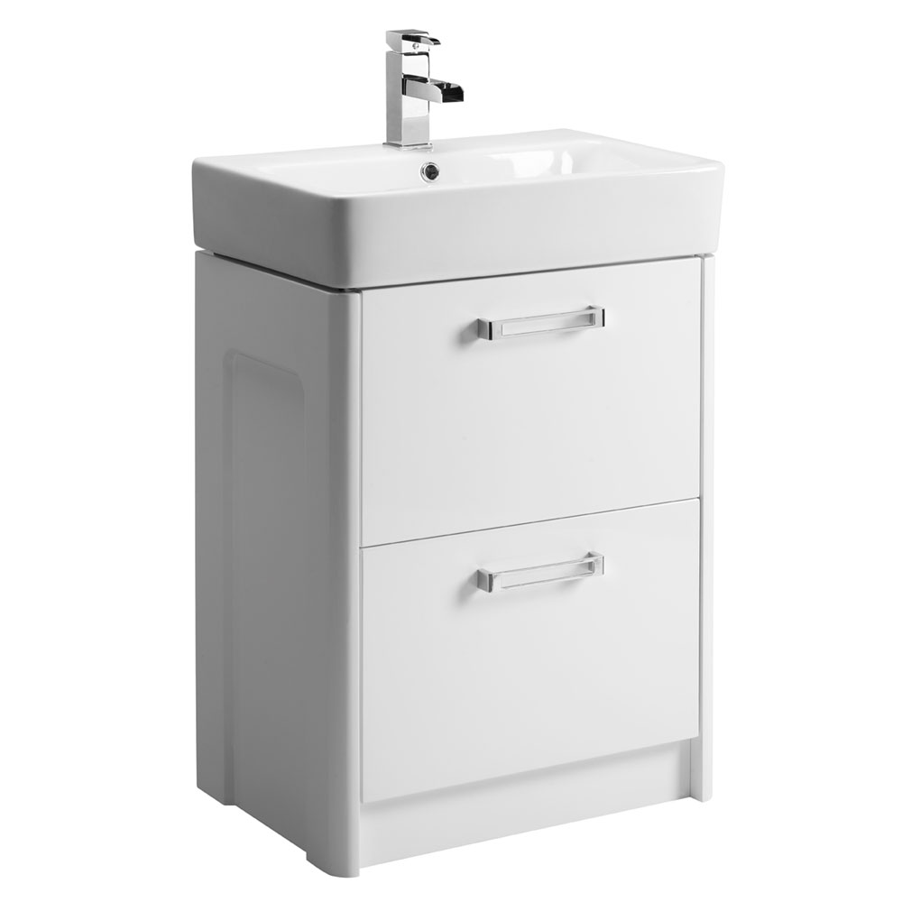 Tavistock Q60 575mm Freestanding Unit & Basin - Gloss White Large Image