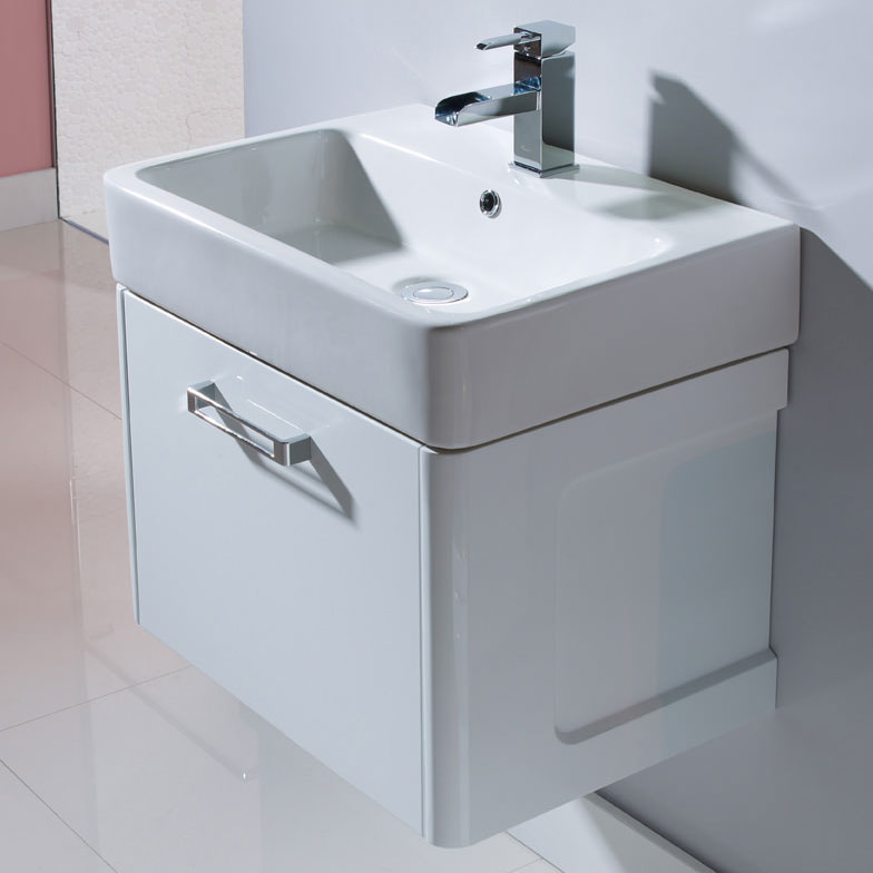 Tavistock Q60 575mm Wall Mounted Unit & Basin - Gloss White profile large image view 2