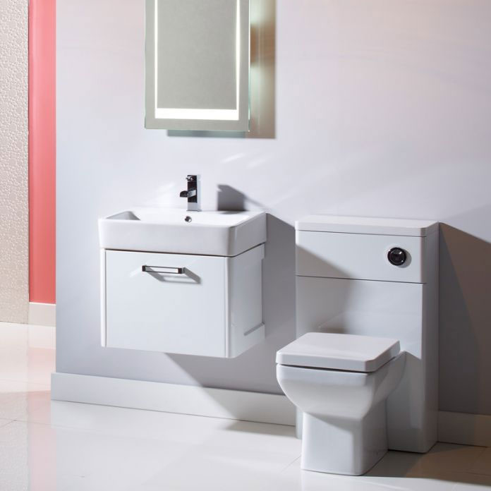 Tavistock Q60 575mm Wall Mounted Unit & Basin - Gloss White profile large image view 3