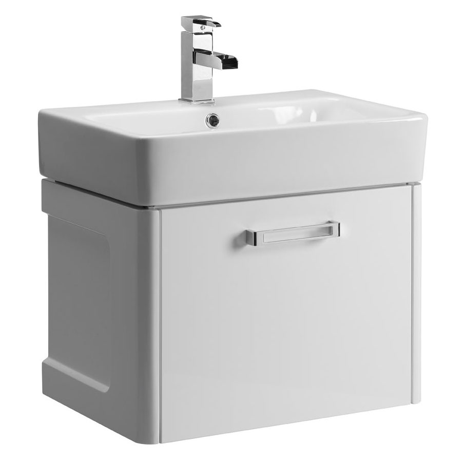 Tavistock Q60 575mm Wall Mounted Unit & Basin - Gloss White profile large image view 1