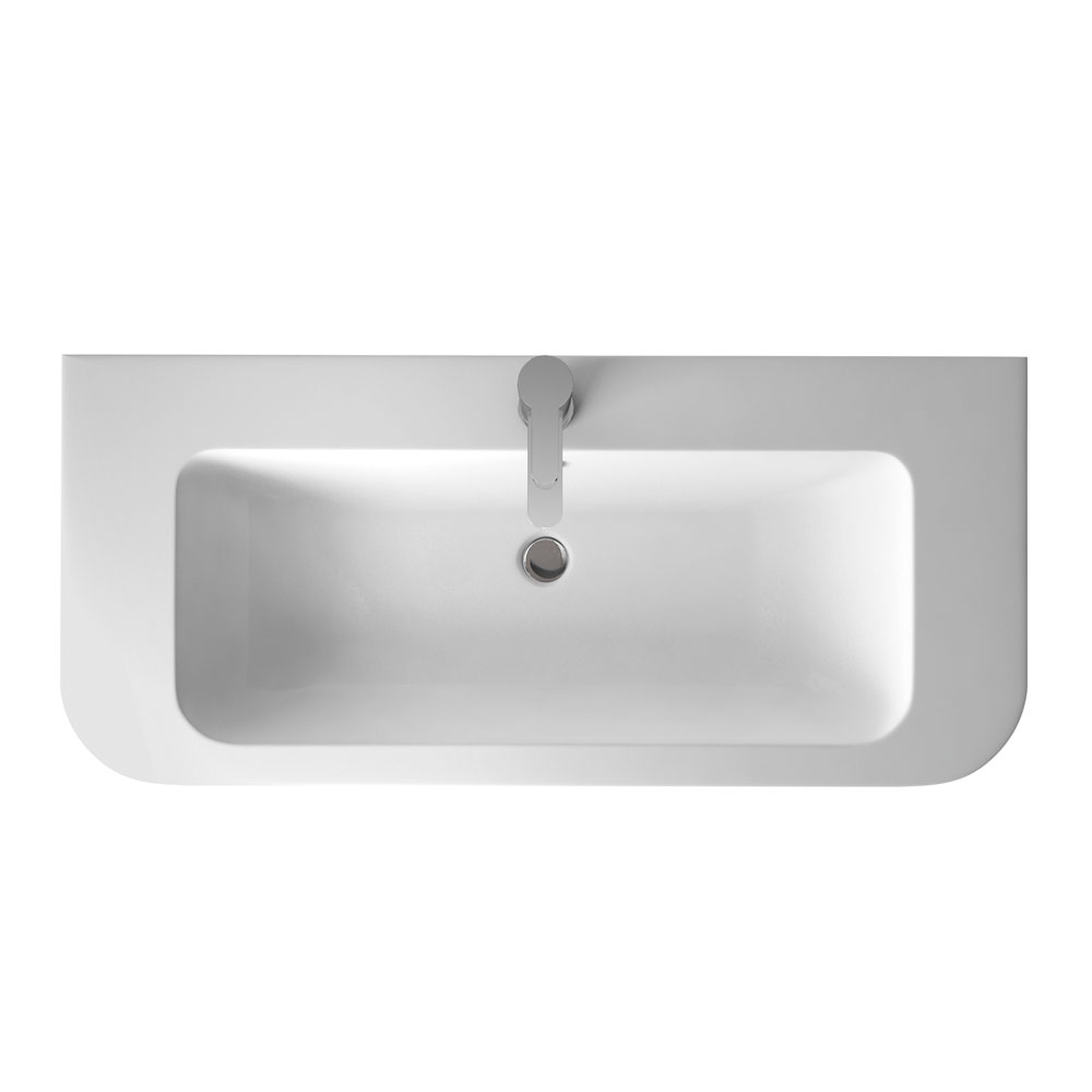 Aqua Cabinets Compact 900mm Wall Hung Vanity Unit with Quattrocast Basin - White profile large image view 2