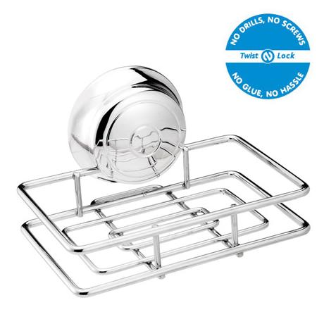 Croydex twist 39 n 39 lock small soap basket chrome at for Chatsworth bathroom faucet parts