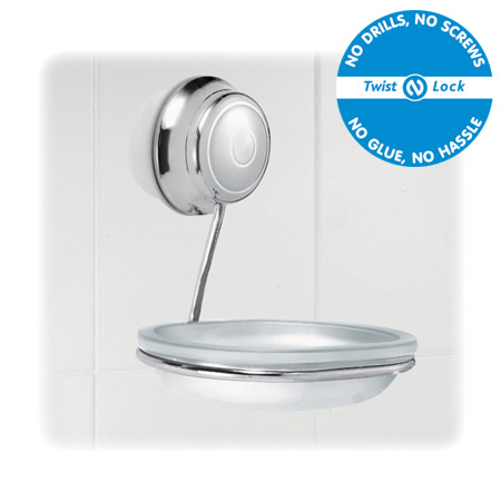 Croydex Twist 'N' Lock Soap Dish and Holder - Chrome - QM321941