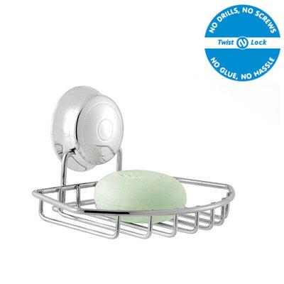 Croydex Twist N Lock Soap Dish - Chrome - QM341941 Large Image