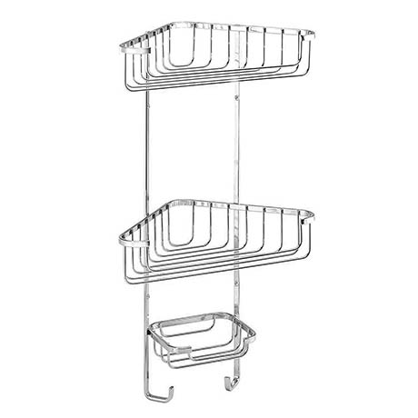 Croydex Stainless Steel 3-Tier Corner Basket - QM392841