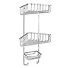Croydex Stainless Steel 3-Tier Corner Basket - QM392841 profile small image view 1
