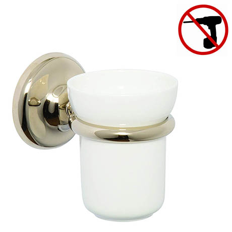 Croydex Grosvenor Flexi-Fix Tumbler & Holder - Gold - QM701803