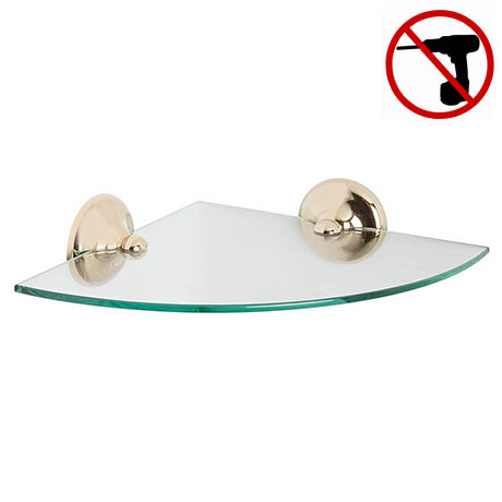 Croydex Grosvenor Flexi-Fix Glass Corner Shelf - Gold - QM705903